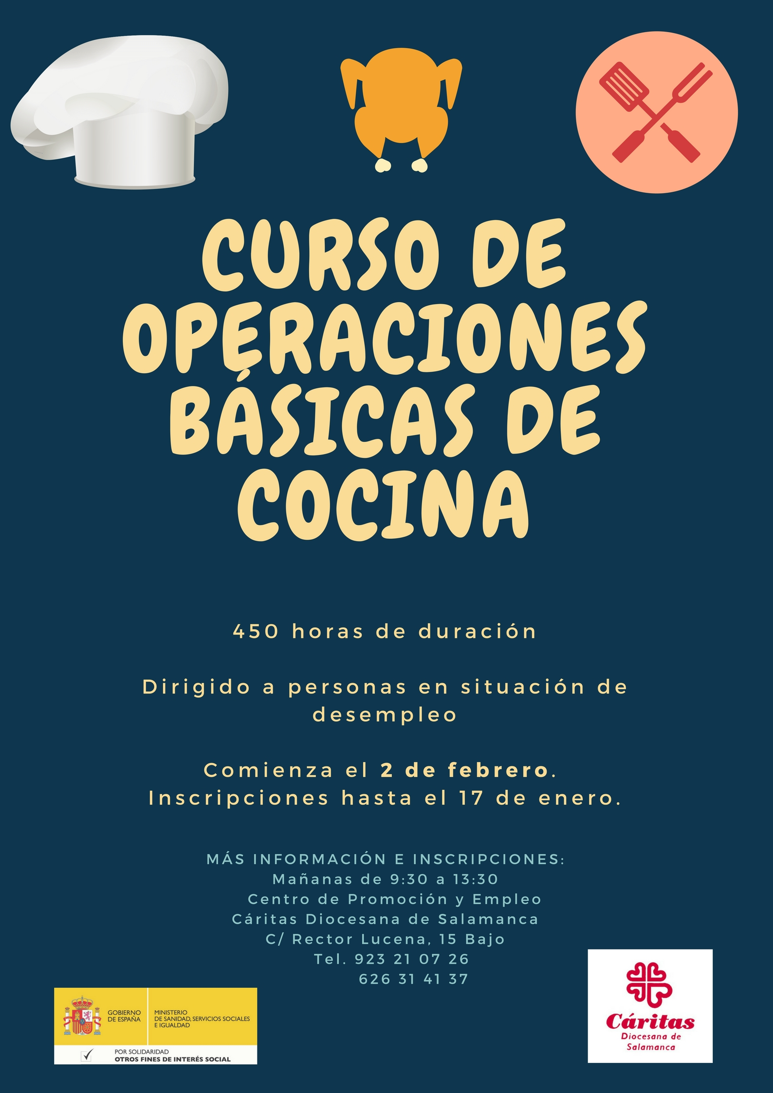 Dos nuevos cursos formativos del rea de inserci n laboral for Cursos de cocina en badajoz